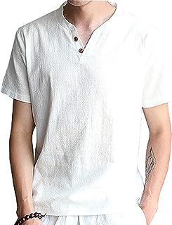 NCFBAG半袖 Tシャツ メンズ 夏服 Vネック 麻 無地 カジュアルシャツ