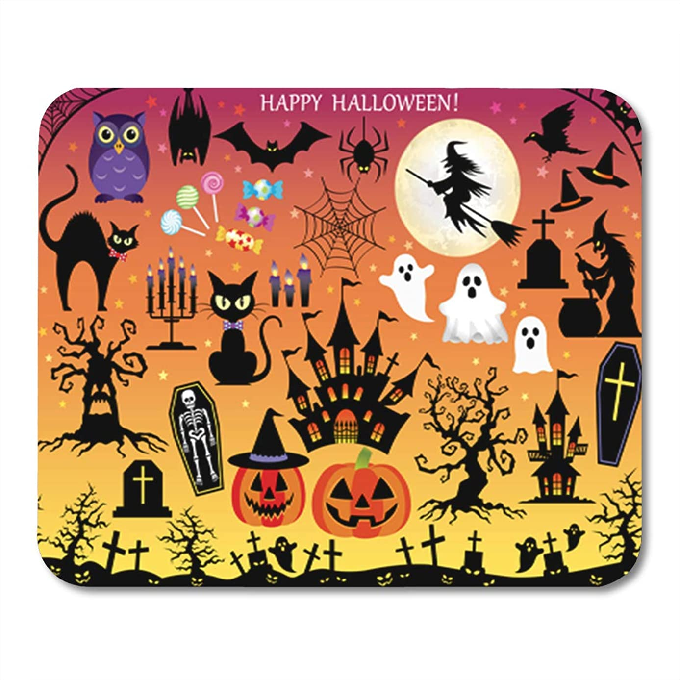 Semtomn Gaming Mouse Pad Witch of Assorted for Halloween Silhouette Cute Haunted Skeleton 9.5