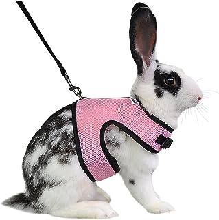Niteangel Adjustable Soft Harness with Elastic Leash for Rabbits (L, Pink)