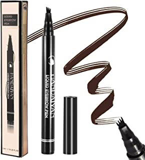 Tattoo eyebrow pen eyebrow microblading pen with fork tip long-lasting waterproof liquid eyebrow pen for creating natural 3d eyebrow, perfect for waking beauty(Dark Brown)