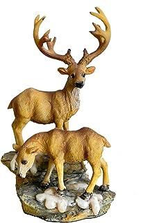 TAOBIAN Couple Deer Lovers Standing Deer Animal Miniature Garden Accessories Figurines Statue Desktop Indoor Outdoor Decor...