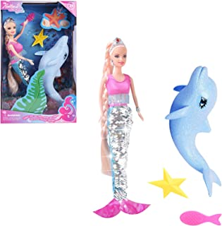 BETTINA Reversible Mermaid Doll with Glitter Dolphin Playset, Mermaid Tail Reverse from Silver to Blue, Mermaid Toys Gifts...