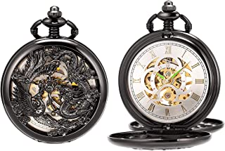 SIBOSUN Pocket Watch Antique Dragon Phoenix Mechanical Skeleton with Chain Double Hunter Hand Wind Steampunk + Gift Box