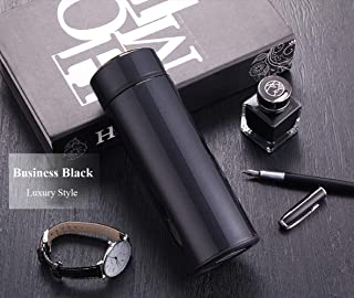 24 Hrs Heat Insulated Double Wall Vacuum flask Thermos Coffee /15 Oz Stainless Steel Water Bottle/Insulated Travel Mug with Tea/Coffee Filter (Black, 15Oz (450ml))