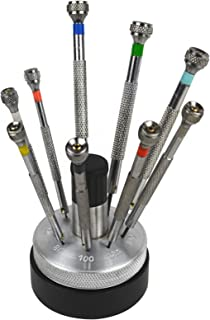 Set of 9 Screwdrivers w/Revolving Stand and Spare Blades Jewelry Making Watchmaking Watch Repair Tool