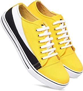 BUCADIA Men's Yellow Canvas Sneakers Casual Shoes