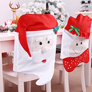 LEHOM Santa Claus Hat Christmas Chair Back Covers Set, 2 Pcs Mr & Mrs. Santa Claus Chair Red Hat Dining Chair Slipcovers Suit for Halloween Holiday Festival Party Home Kitchen Dining Room Décor