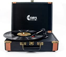 VMO 3 Speed Suitcase Turntable with Speakers,Portable Vinyl Record Player with RCA Output&Aux Input and Headphone Jack,Retro Black