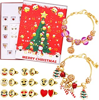 KITPIPI Advent Calendar 2019 Christmas Countdown Calendar, Gifts DIY Fashion Jewelry Set, 15 Charms with 1 Bracelet and 8 Pairs of Emoji Ear Studs for Women Girls Christmas Jewelry Calendar