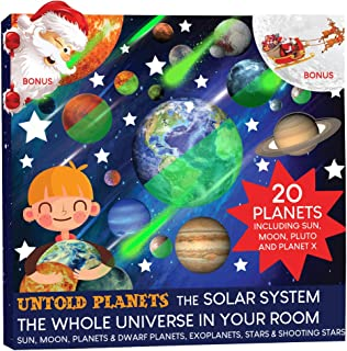 Glow in The Dark Stars and Planets, Bright Solar System Wall Stickers, All 20 Glowing 15 Planets Dwarf Exoplanets Pluto Moon Sun Earth, 186 Stars 12 Shooting Stars BONUS Santa on the Moon Santa's Face