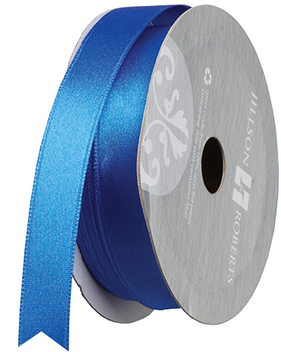 Jillson Roberts 5/8-Inch Double Faced Satin Ribbon Available in 21 Colors, Royal Blue, 6 Spool-Count (FR0916)