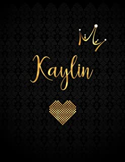 Kaylin: Personalized Black XL Journal with Gold Lettering, Girl Names/Initials 8.5x11, Journal Notebook with 110 Inspirational Quotes, Journals to Write In for Women (Notebooks and Journals)