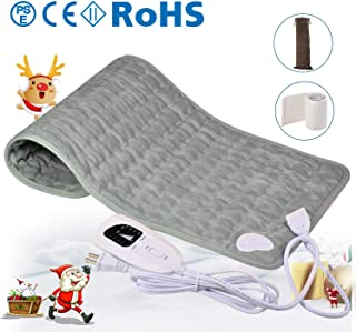 Bernuly Heating Pad, Electric Fast-Heating Machine Washable Pad, 6 Temperature Settings & 4 Auto Shut Off Timer, Extra Large Soft Touch Heating pad for Back/Neck/Shoulder Pain Relief, Gray (12