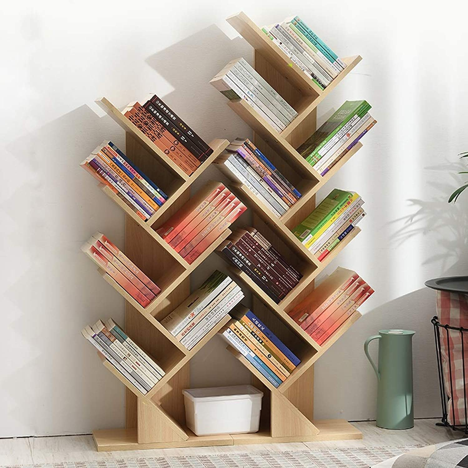 CL Creative Solid Wood Simple Floor Tree-Shaped Bookshelf Wood color - Three Sizes to Choose from Bookshelf (Size   40X77cm)