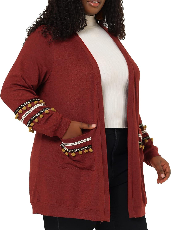 Agnes Orinda Plus Selling rankings Size Cardigan for Tassel Import Patch Et Pocket Women