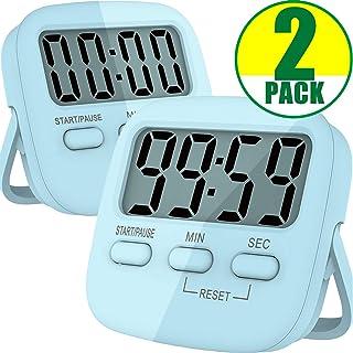Kitchen Timer, 2 Pack Digital Kitchen Timers [ 2020 Version ] Magnetic Countdown Timer with Loud Alarm, Big Digits, Back S...