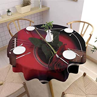 Round Table Cloth Spanish Musician Portugal Hand Made Guitar with Romance Theme Love Rose for Banquet Decoration Dining Table Cover Ruby and White Diameter 47