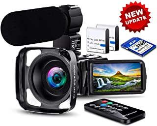 【New Upgrade】 Ultra HD Video Camera Camcorder 1080P 36M Vlogging Camera YouTube Digital Recorder Camera IPS Touch Screen IR Night Vision with Microphone Remote Control, Lens Hood, Battery Charger
