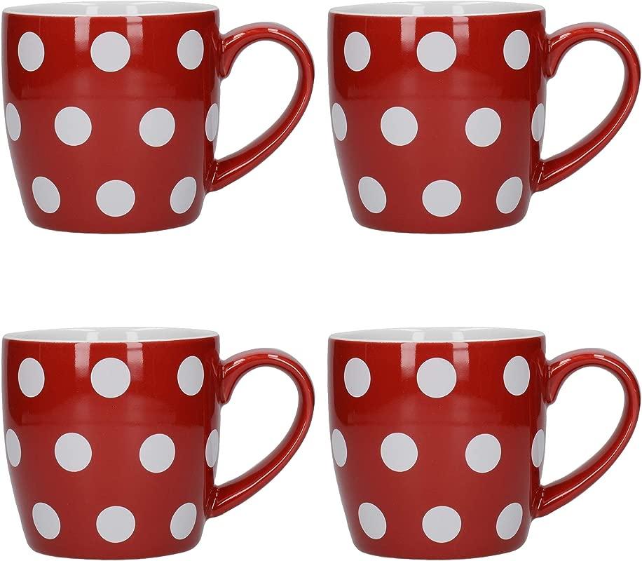 London Pottery Tea Mug Set Stoneware Red White 300 Ml Set Of 4 Polka Dot Coffee Cups