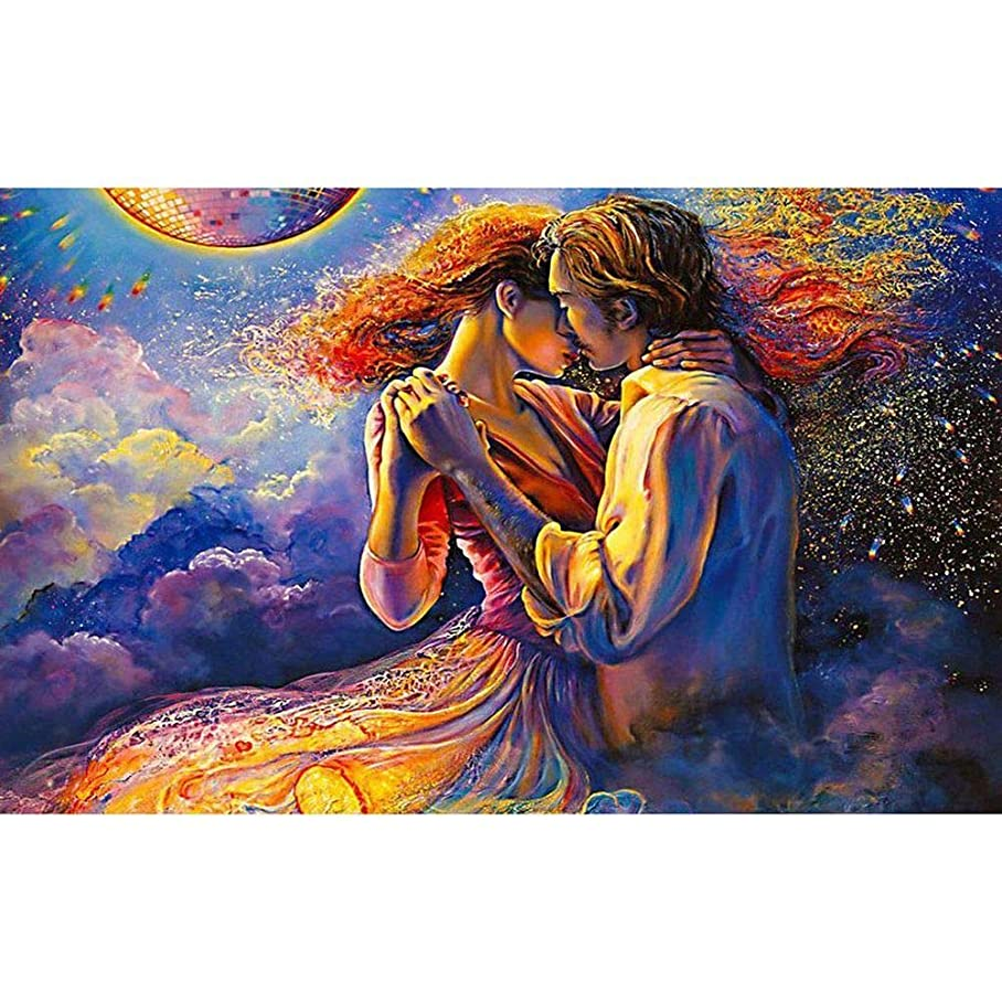 DIY Diamond Painting Adults Destress Toy Love Kiss Illustration Full Drill Crystal Rhinestone Embroidery Pictures Arts Craft for Home Wall Decor Gift 15.7x19.7 in Couple Dance in Clouds a333849061
