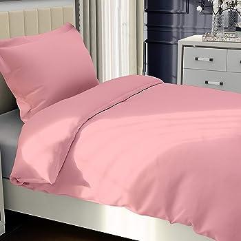 NTBAY Microfiber Kid's Duvet Cover Set, 2 Pieces Solid Color Zipper Closure Comforter Cover Set, Twin, Pink