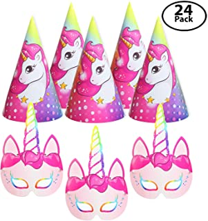 12 Pack Unicorn Party Paper Face Masks, Bundle with 12 Unicorn Party Hats – For the Unforgettable Unicorn Themed Birthday Party – The Party Favors Pack to Make Sparkle Wherever You Go!
