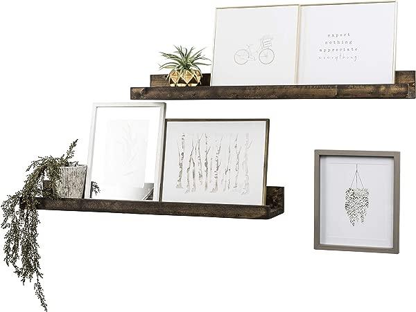 Del Hutson Designs Wall Mounted Shallow Floating Shelves Dark Walnut 36 Inch