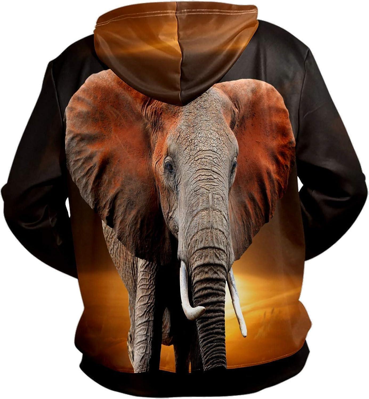 Men's Sport Hoodie Wild Elephant Animal Sunset Big and Tall Hoodies for Men Women Oversized Hooded Sweatshirt Hip Hop Pullover Hoodie Midweight Hood for Boys Girls