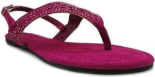 Women's Hooded Heat Sealed Cutout Raspberry Faux Suede Sandal 8 B(M) US