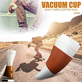 sweetyhomes Goat Coffee Mug Fashionable Goat Horn Shaped Stainless Steel Vacuum Cup Couple Thermos Cup for Travel Offices Cars 230ml