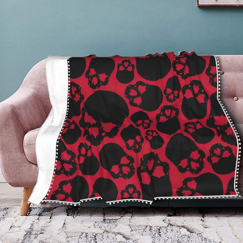 Red Skulls Fleece Bargain sale Blanket Colorado Springs Mall with Summer Air Conditi Pompom Fringe