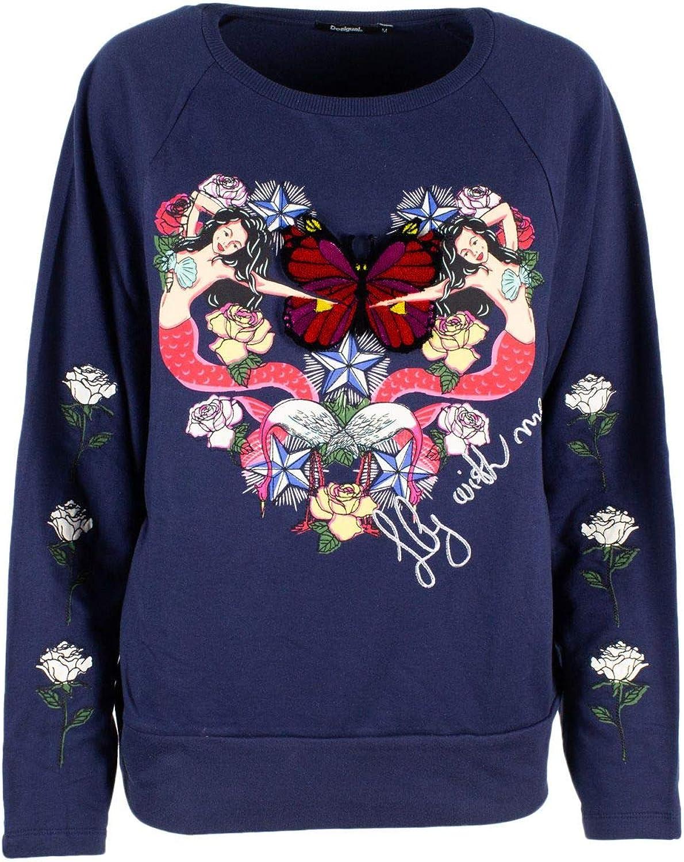 Desigual Women's 19SWSK06blueE bluee Cotton Sweatshirt