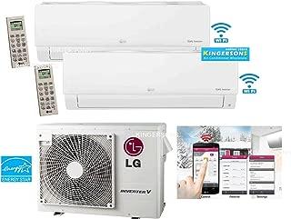 LG 2 TON 24000 BTU SEER 21 Dual Zone 9K + 18K BTU Heat and Cool Mini Split AC Heat Pump System Energy Star with Built in WiFi