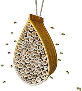 BEEXTM Mason Bee House Refillable Nesting Box Handmade Natural Bamboo Bee Hive Attracts Peaceful Bee Pollinators