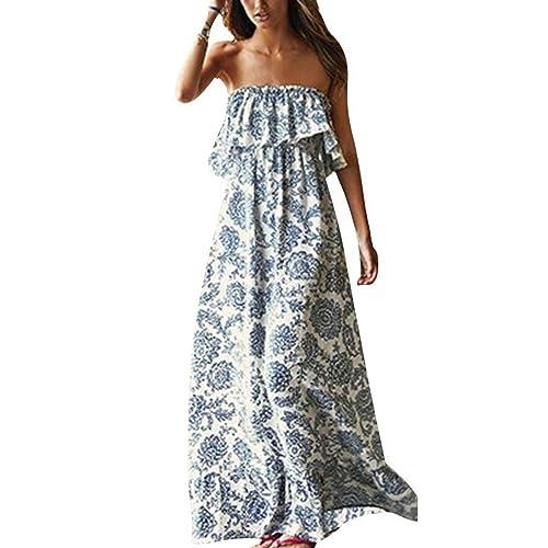 ed16ee3dcf1 Yidarton Women Summer Blue and White Porcelain Strapless Boho Maxi Long  Dress