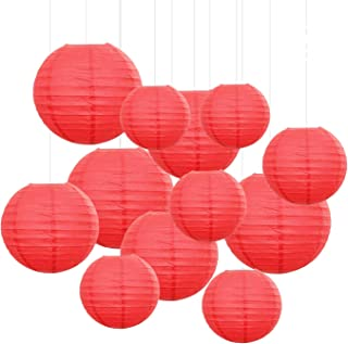12PCS Paper Lanterns with Assorted Colors and Sizes Paper Lanterns Decorative,Chinese/Japanese Paper Hanging Decorations Ball Lanterns Lamps for Home Decor, Parties, and Weddings (Red)