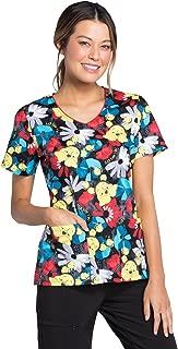 Tooniforms Women's V-Neck Winnie The Pooh Print Scrub Top