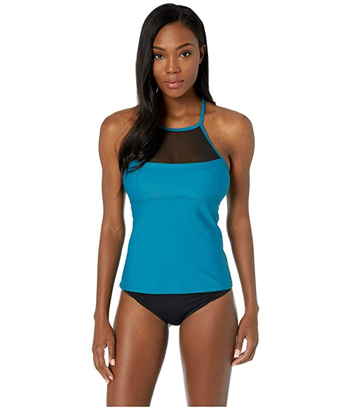 Speedo Mesh Tankini Top (Caribbean Sea) Women