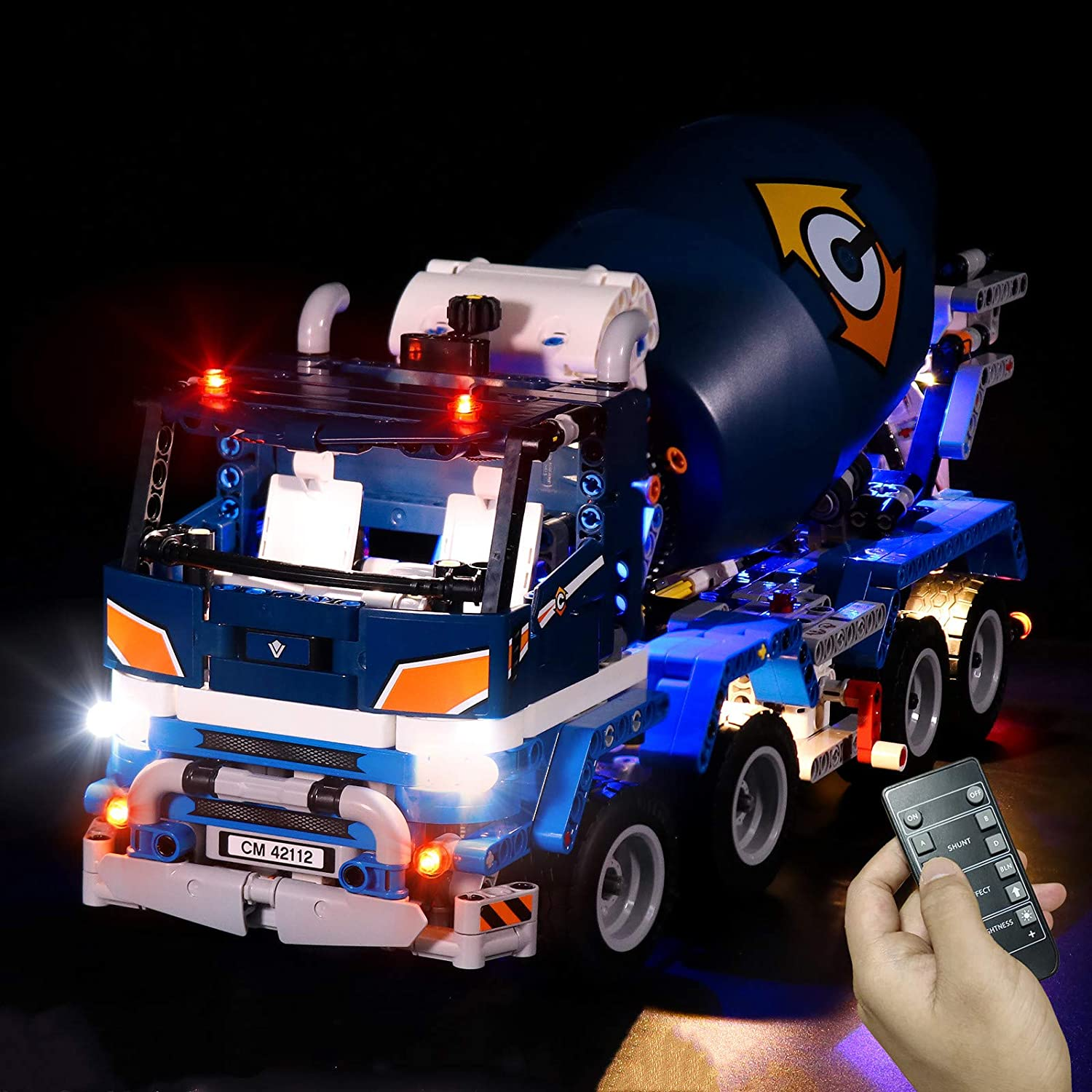 RC Version LED Building Light Kit for Technic Concrete Mixer Truck LED Lighting Set Compatible with Lego 42112 No Blocks Model Only Lights
