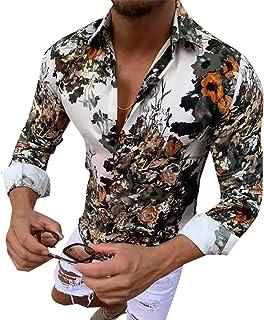 GAGA Men Lapel Casual Button Floral Printing Long Sleeve Tops T Shirt Blouse