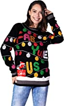 Women's Ugly Christmas Sweater Funny Glitter Lights with Robin Pullover - Retro Glam it Up