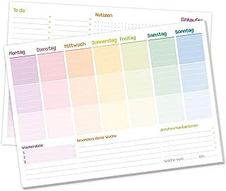 Wochenplaner Block A4 ohne festes Datum [Rainbow] 50 Blatt  Terminplaner mit To-Do-Liste,..