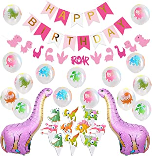 Kreatwow Dinosaur Party Decorations for Pink Dinosaur Balloons Garland Happy Birthday Banner for Baby 1st Birthday Baby Shower Decorations