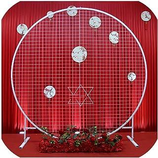 サークル結婚式誕生日アーチ装飾背景鍛造プロップシングルアーチ花バルーン屋外芝生メッシュスクリーンロードガイド、直径1 m、黒丸グリッド