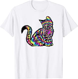 Trippy Tie Dye Cat - Fun Trendy Rainbow Kitten Mens Womens T-Shirt