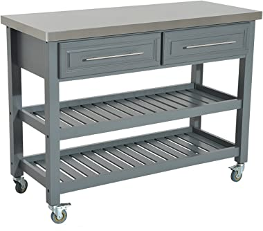 HOMCOM Rolling Kitchen Island Cart with Drawers, Shelves, and Stainless Steel Top - Grey
