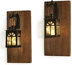 Rustic Wall Decor-Wall Sconce-Farmhouse Wall Decor Mounted Hanging Metal Lanterns with Fairy Lights (2, Brown)