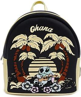 Loungefly Disney Stitch Satin Mini Backpack w/Faux leather