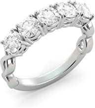 5 Stone Round Cut Charles & Colvard Forever One Moissanite Twist Band Bridal Custom Unique 1 of a Kind Your choice of Solid 14k White Rose or Yellow Gold 1.65 tcw