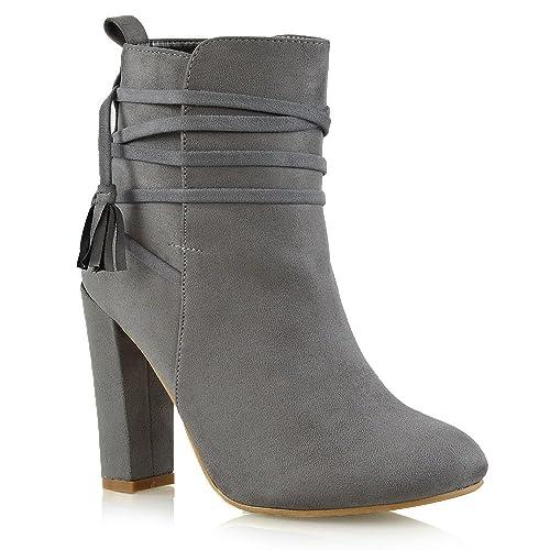 163d171932d Grey Suede Block Heel Boots: Amazon.co.uk